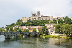 Beziers (France). Beziers (Herault, Languedoc-Roussillon, France), panoramic view with the cathedral and the bridge Stock Image