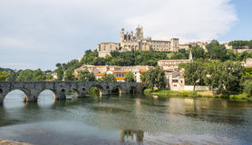 Beziers (France). Beziers (Herault, Languedoc-Roussillon, France), panoramic view with the cathedral and the bridge Royalty Free Stock Photos