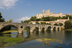 Beziers Old Bridge. Pont Vieux (Old Bridge) over the river Orb, Beziers, France Stock Images
