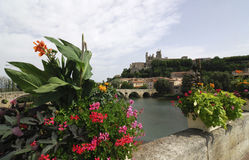 Beziers, panormaic view from bridge Royalty Free Stock Photo