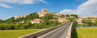 Beziers in a summer day. Panorama of Beziers in a summer day Stock Photos