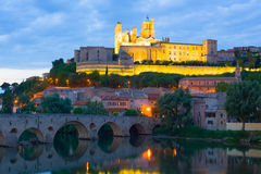 Beziers in a summer evening Royalty Free Stock Photo