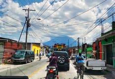 Bezig de stad in in Guatemala royalty-vrije stock afbeeldingen