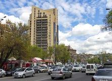 Bezig verkeer in Yerevan Armenië royalty-vrije stock afbeelding