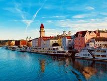 Bezige Donau dichtbij Passau, Duitsland stock afbeeldingen