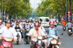 Bezige straat in Ho Chi Minh City. Vietnam. Royalty-vrije Stock Afbeeldingen