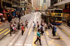 Bezige straat in Hong Kong, China Stock Foto's