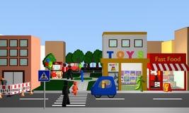 Bezige straat met een voetgangersoversteekplaats, winkels en park met popc royalty-vrije illustratie