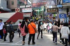 Bezige straatscènes van Hongkong Stock Foto's
