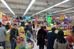 Bezige Supermarkt Stock Foto's