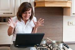 Bezige vrouw - het werk thuis Stock Afbeeldingen