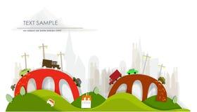 Bezige wegen, verbindingen en bruggenachtergrond Royalty-vrije Stock Afbeeldingen
