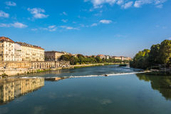 Bezinning in de Po Rivier, Turijn, Italië Stock Foto