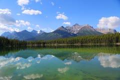 Bezinning in Herbert Lake in het Nationale Park van Banff, Alberta, Canada Royalty-vrije Stock Afbeeldingen