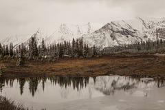 Bezinning over een meer, Alberta, Canada Stock Afbeeldingen