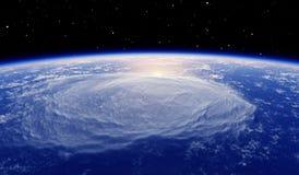 Bezinning van de zon in de atmosfeer van de aarde Stock Foto