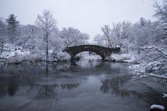 Bezinning van een brug op een sneeuwcentral park royalty-vrije stock fotografie