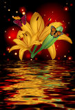 Bezinning van een mooie lotusbloembloem met vlinders Stock Foto's