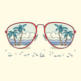 Bezinning van het strand, palmen, strand binnen Stock Foto