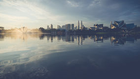 Bezinning van Kuala Lumpur in meer Titiwangsa Royalty-vrije Stock Foto