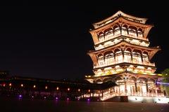 Bezinning van Tang Paradise Center bij nacht, Xi'an, China Stock Afbeelding