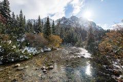 Bezinningen in het kalme meerwater met sneeuw en bergen Stock Fotografie