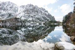 Bezinningen in het kalme meerwater met sneeuw en bergen Stock Foto