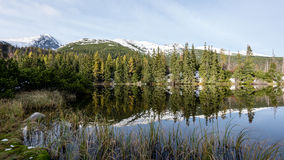 Bezinningen in het kalme meerwater met sneeuw en bergen Royalty-vrije Stock Foto