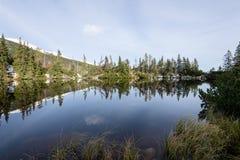 Bezinningen in het kalme meerwater met sneeuw en bergen Stock Afbeelding