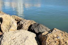 Bezinningen in het overzees en de rotsen onder de zon stock afbeelding