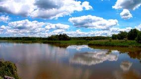 Bezinningen van groene bos, blauwe hemel en wolken in het kalme water van meer stock footage