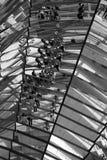 Bezinningen van toeristen in de Reichstag-koepel worden gezien die Stock Foto's