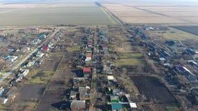 Bezirk Dorf Elitnyy Krasnoarmeyskiy, Krasnodar Krai, Russland Fliegen an einer Höhe von 100 Metern Die Ruine und die Vergessenhei Lizenzfreies Stockbild
