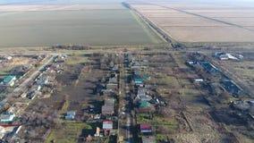 Bezirk Dorf Elitnyy Krasnoarmeyskiy, Krasnodar Krai, Russland Fliegen an einer Höhe von 100 Metern Die Ruine und die Vergessenhei Stockfotografie