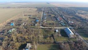 Bezirk Dorf Elitnyy Krasnoarmeyskiy, Krasnodar Krai, Russland Fliegen an einer Höhe von 100 Metern Die Ruine und die Vergessenhei Lizenzfreie Stockfotos