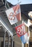 Bezirk-Schweizerflaggen Lizenzfreies Stockfoto
