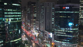 Bezirk Südkoreas Seoul Gangnam nachts stock video