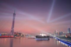 Bezirk-Turm im Abendrot stockbild