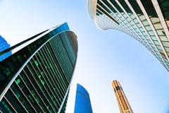 Bezirk von Geschäftszentren Glaswolkenkratzerfassade Moskau-Stadt, Russland Straßenäußeres Modernes Bürohaus Städtische Ansicht Stockbild