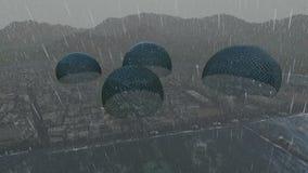 Bezirk zwischen Wasser und Berg am starken Regen stock abbildung
