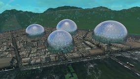 Bezirk zwischen Wasser und Berg von der Dämmerung bebauen Dämmerung lizenzfreie abbildung