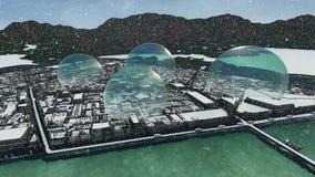 Bezirk zwischen Wasser und Glaskuppeln am Schneien vektor abbildung