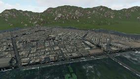 Bezirk zwischen Wasser von der Dämmerung bebauen Dämmerung lizenzfreie abbildung