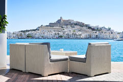 Bezirke Sa Penya und Dalt Vila in Ibiza-Stadt, Spanien Lizenzfreies Stockfoto