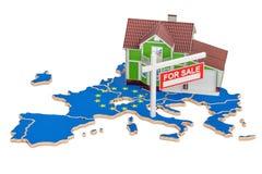 Bezit voor verkoop en huur in de EU-concept, het 3D teruggeven Stock Foto