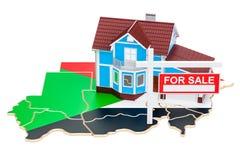 Bezit voor verkoop en huur in het concept van de Soedan Real Estate-Teken, 3 Royalty-vrije Stock Afbeeldingen