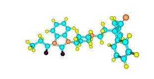 Bezitramide molekylär struktur som isoleras på vit Royaltyfri Bild