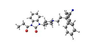 Bezitramide molekylär struktur som isoleras på vit Arkivbild