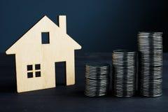 Bezitsinvestering en waarde van huis Muntstukken en model van huis stock foto's