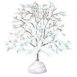 Bezlistny drzewo zakrywający z śniegiem odizolowywającym na białym tle również zwrócić corel ilustracji wektora royalty ilustracja